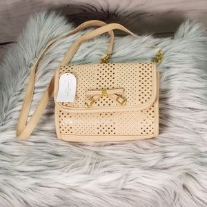 Jessica Simpson Paige Taupe and Gold Crossbody Bag